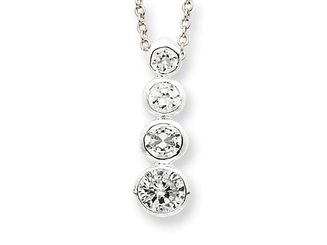 Sterling Silver CZ Journey Necklace
