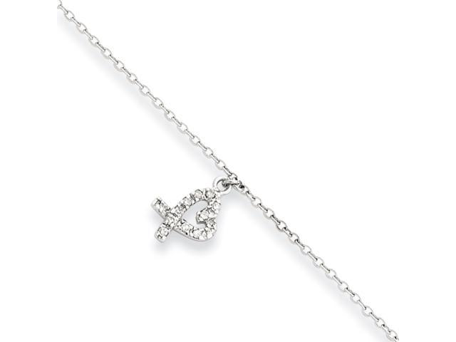 Sterling Silver 10 +1in ext Hanging CZ Heart Anklet