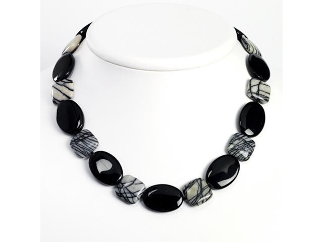 Sterling Silver Black Agate & Zebra Jasper Necklace