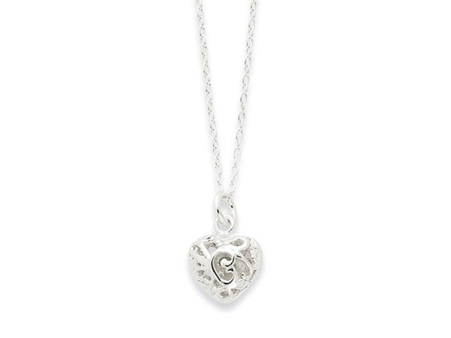 Sterling Silver Polished Puffed Heart Necklace