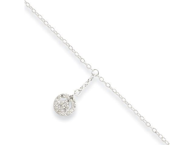 Sterling Silver 9 + 1in ext CZ Peace Symbol Charm Anklet