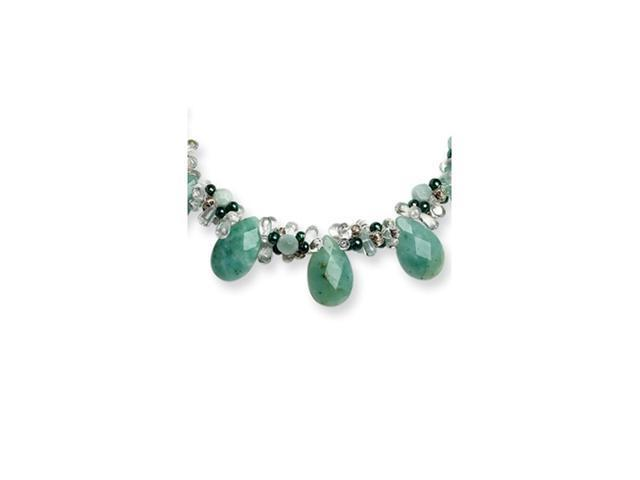 Sterling Silver Amazonite/Clear Quartz/FW Cult Green Pearl Necklace
