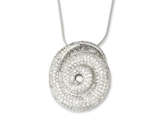 Sterling Silver & CZ Brilliant Embers Swirl Necklace