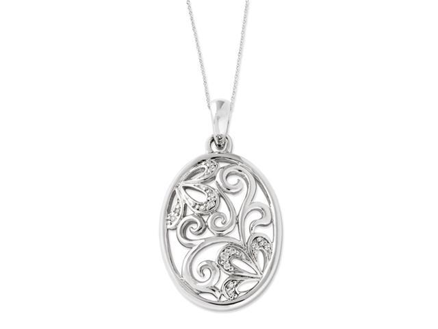 Sterling Silver CZ You Are a Blessing 18in Flower Necklace