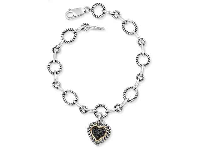 Sterling Silver w/14ky Black Diamond Heart Link 7.5in Link Bracelet