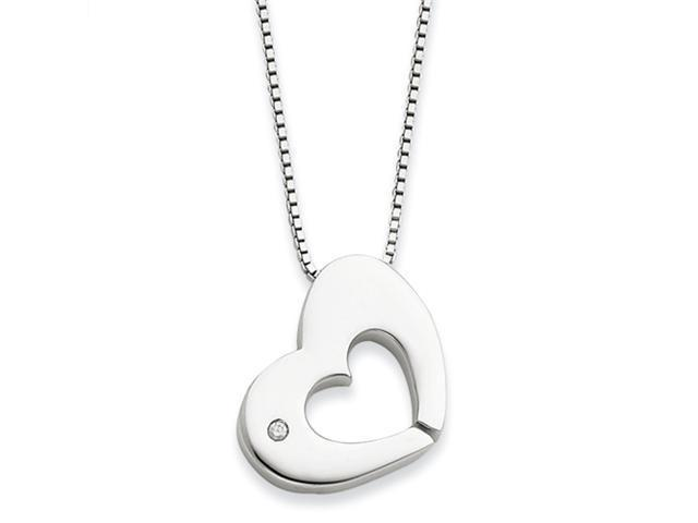 SS White Ice .02ct Diamond Heart Necklace