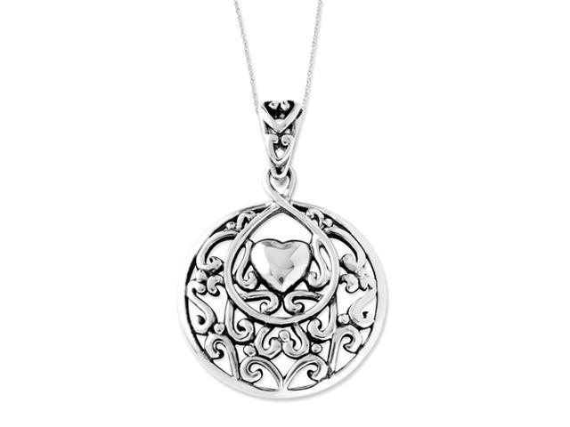 Sterling Silver Antiqued I Choose You Pendant 18in Heart Necklace