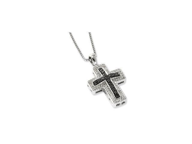 Sterling Silver Black & White Diamond Cross Pendant Necklace