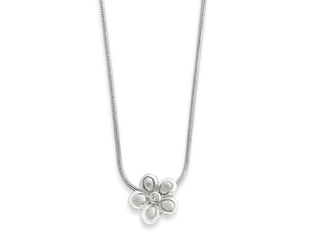 SS White Ice .02ct. Diamond Flower Necklace