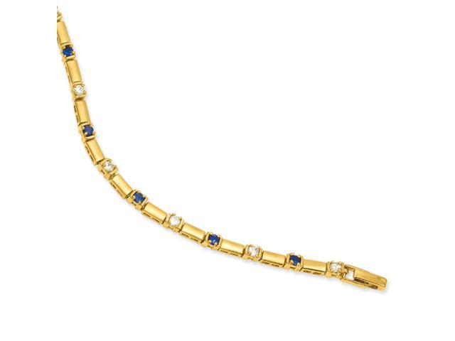 7.5in  Gold-plated Blue and White CZ Bracelet