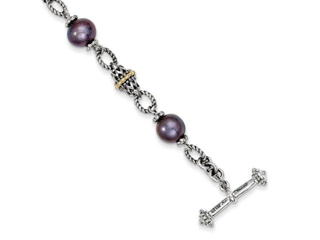 Sterling Silver w/14ky Freshwater Cultured Black Pearl Antiqued Bracelet