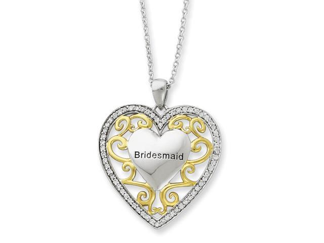 Sterling Silver & Gold-plated CZ Bridesmaid 18in Heart Necklace