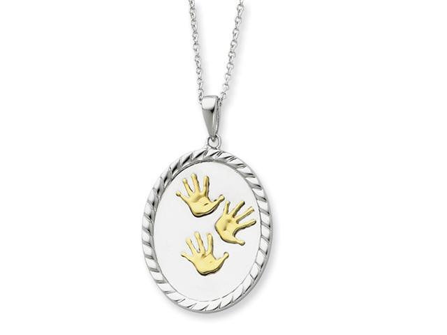 Sterling Silver & Gold-plated Hand Prints 18in Necklace