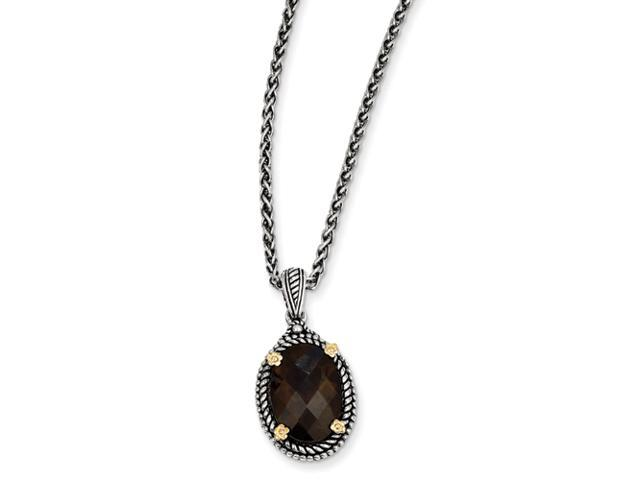 Sterling Silver w/14k 4.25Smokey Quartz 18in Necklace