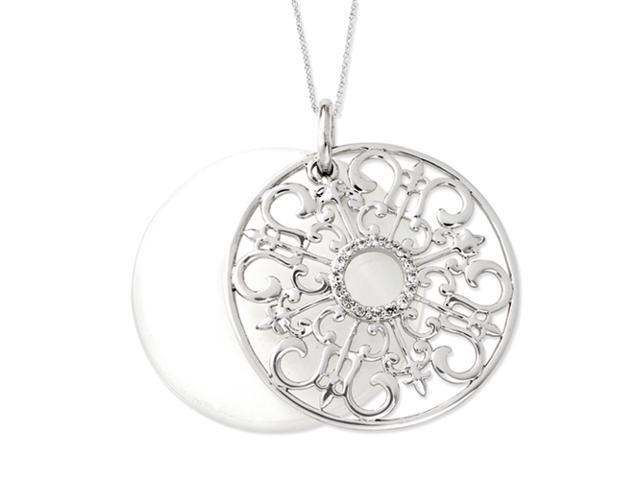 Sterling Silver CZ & Simulated Cat's Eye Be A Blessing 18in Necklace