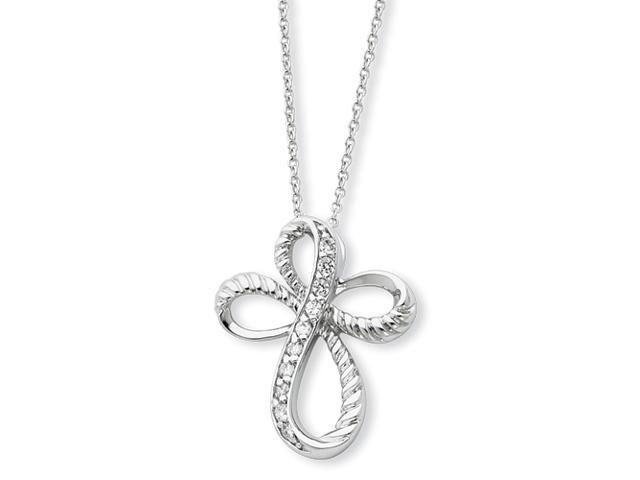Sterling Silver & CZ Endless Hope 18in Cross Necklace