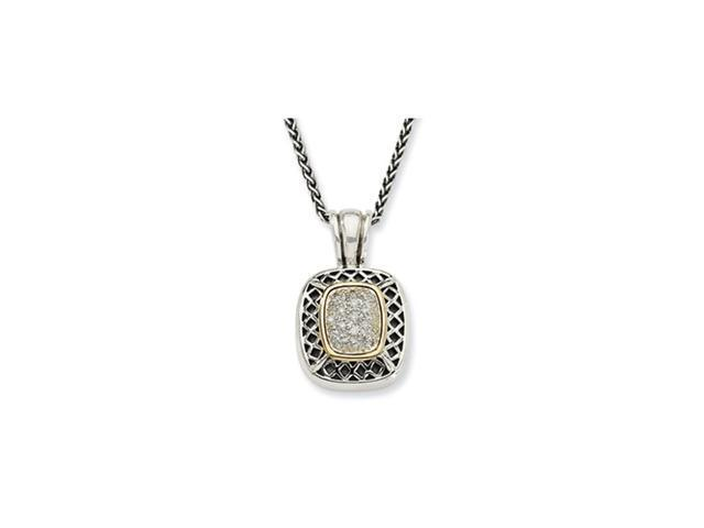 Sterling Silver w/14k 1/6ct. Diamond 18in Necklace