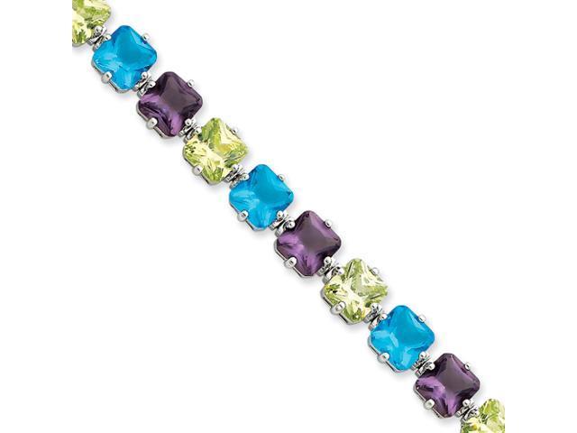 Sterling Silver 7inch Multicolor Glass & CZ Bracelet