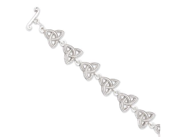 Silver-tone Celtic Trinity 7.5in Toggle Bracelet