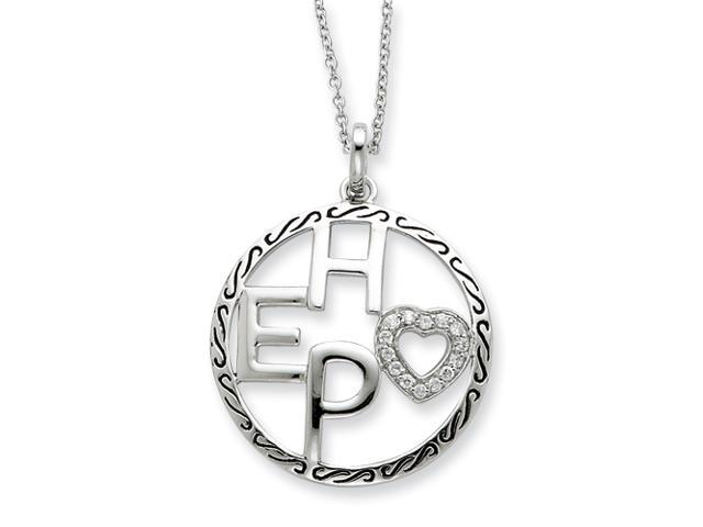 Sterling Silver Antiqued CZ Hope 18in Necklace