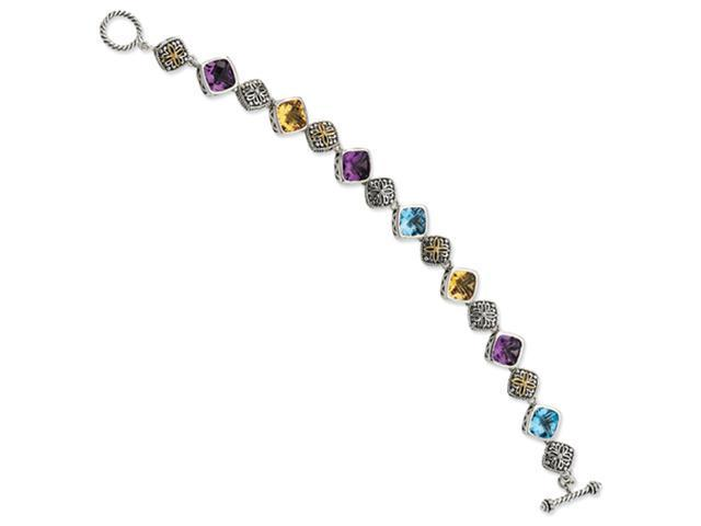 Sterling Silver w/14ky Amethyst, Blue Topaz and Citrine Antiqued Bracelet