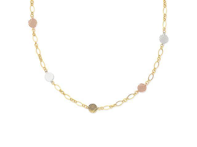 14k Tri-color Flat Disc Necklace