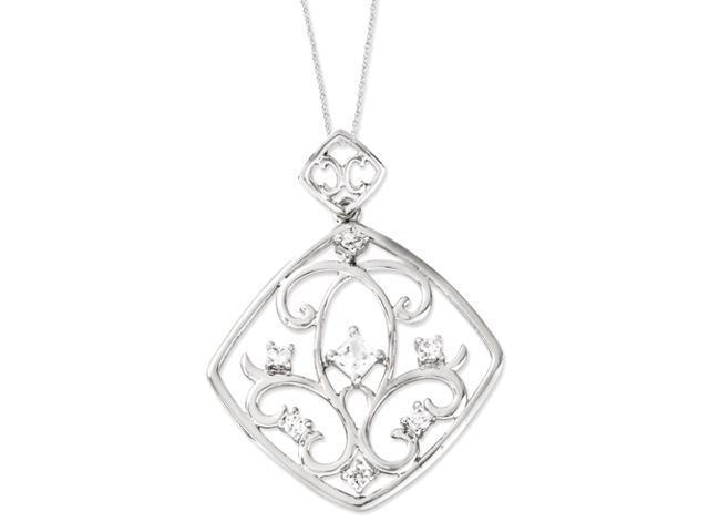 Sterling Silver CZ Joy Overflowing 18in Necklace