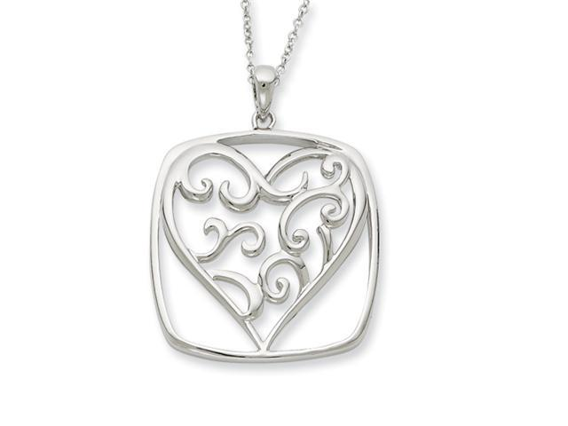 Sterling Silver Antiqued You Are A Friend Of My Heart 18in Necklace