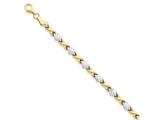14k Rhodium Polished Heart & X Bracelet