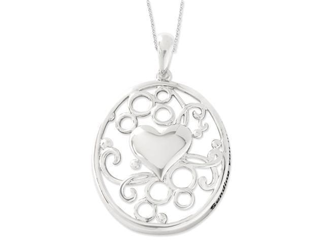Sterling Silver Antiqued Sending You My Love 18in Heart Necklace