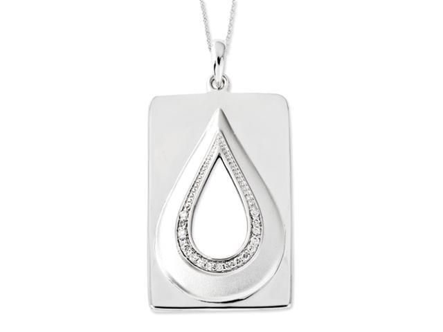 Sterling Silver CZ Antiqued He Will Wipe Away Our Tears 18in Necklace