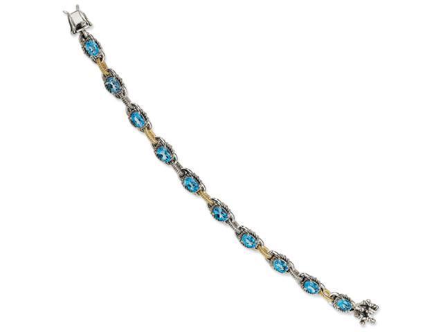 Sterling Silver w/14ky Blue Topaz Antiqued Bracelet