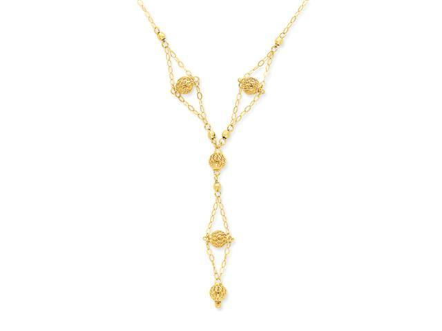 14k Bead Lariat with 2in ext Necklace
