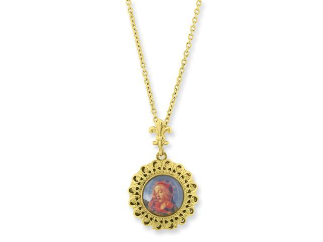 Gold-tone Blessed Flower of the Lily Locket 24in Necklace