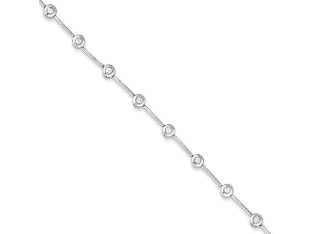 Sterling Silver Polished Fancy Bezel-Set CZ Bracelet