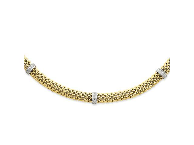 14k Two-Tone 17in 6.75mm .05ct Completed Polished Diamond & Mesh Necklace