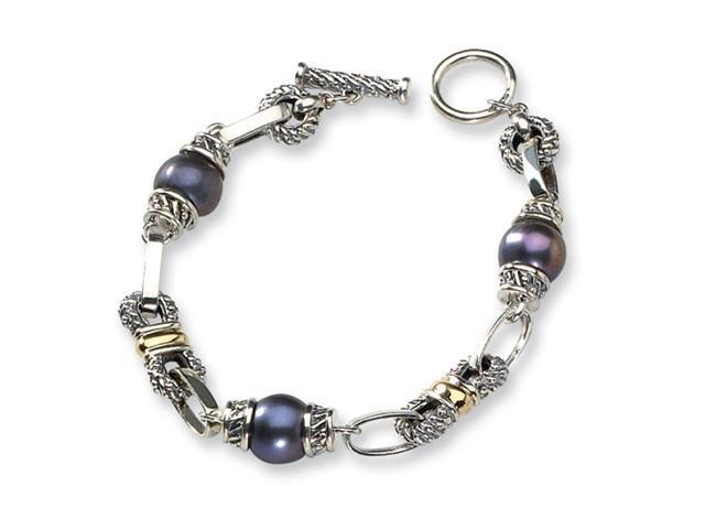 Sterling Silver w/14k Black FW Cultured Pearl 7.5in Bracelet