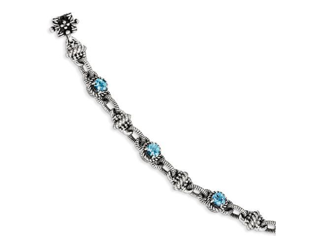 Sterling Silver Blue Topaz Antiqued Bracelet