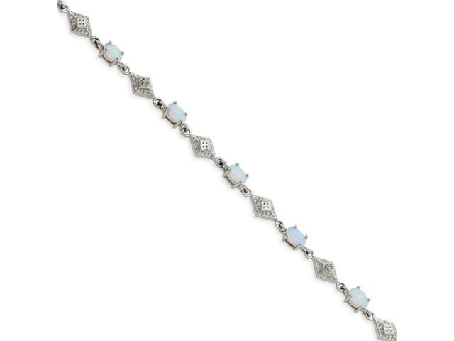 Sterling Silver White Created Opal Bracelet