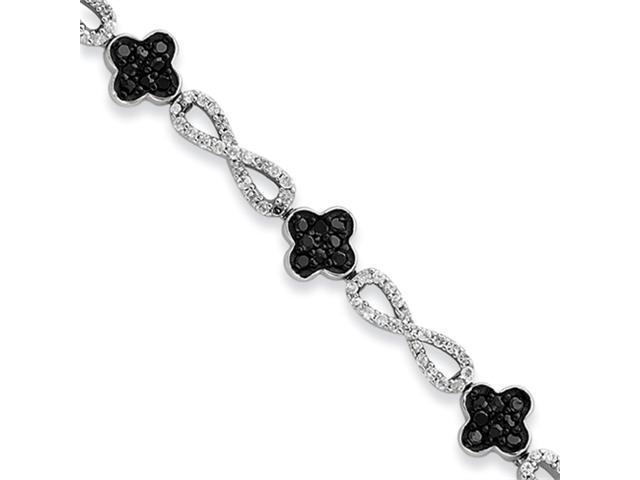 Sterling Silver Black & White CZ Flower Bracelet