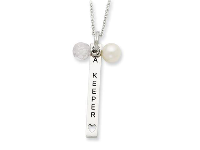 Sterling Silver Cultured Pearl & CZ I Am A Keeper 18in Necklace