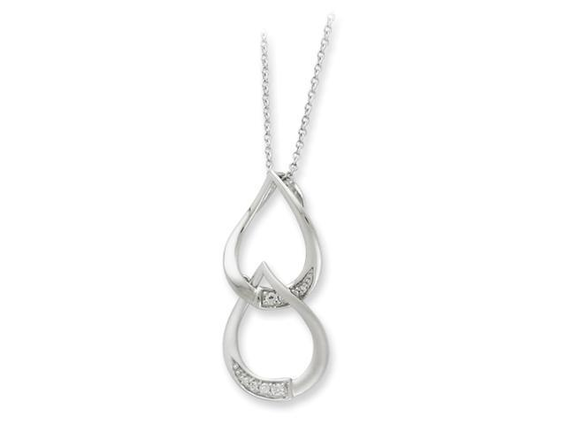 Sterling Silver & CZ Tears to Share 18in Necklace