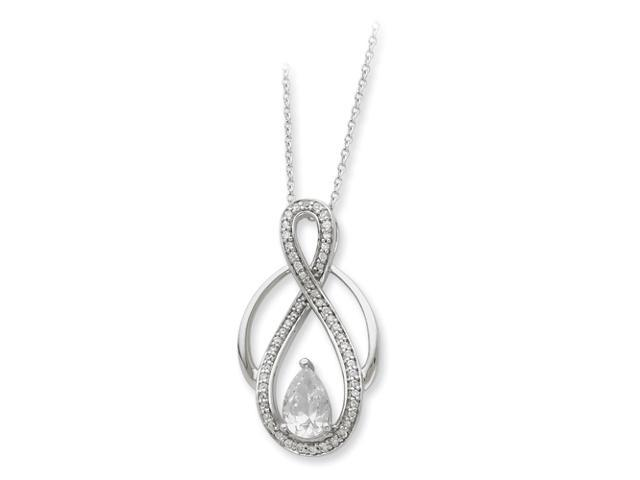 Sterling Silver & CZ Tear of Strength 18in Necklace