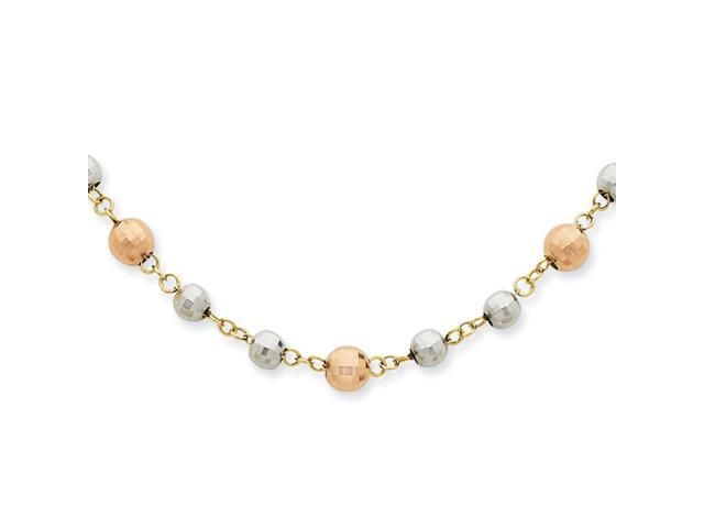 14K Tri-Color Fancy Mirror Beaded Necklace