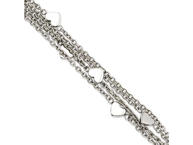 Stainless Steel Multiple Chain w/Hearts 8in Toggle Bracelet