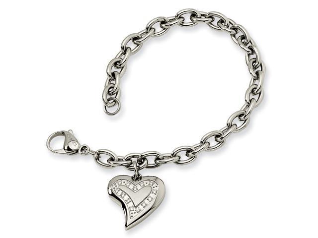 Stainless Steel CZ Heart Charm Fancy Bracelet
