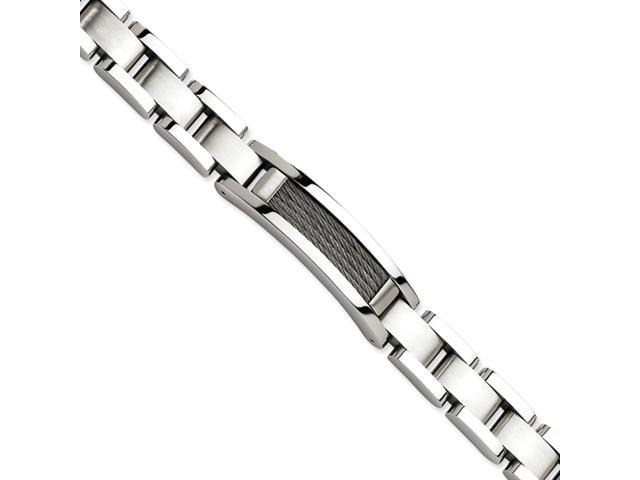 Stainless Steel Polished & Satin with Wire 8.5in Bracelet