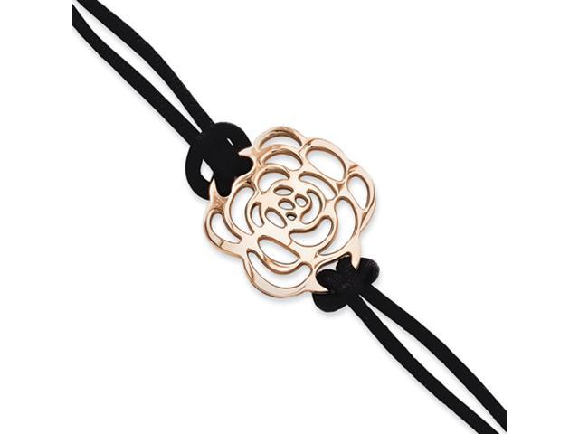 Stainless Steel Rose Gold-plated Flower 7in w/ext Bracelet