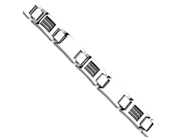 Stainless Steel Wire Polished 8.5in Bracelet