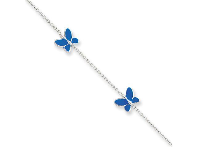 14k White Gold Blue Enameled Butterfly Anklet